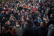 "People spends the day on the street in a place called Aske Gunea (The Free Space in basque language) supporting the 8 young persons who have been sentenced to six years in jail. They have been sentenced for having been members of the Basque pro-independence youth organization SEGI ('Keep on' in basque language). Donostia-San Sebastian (Basque Country) April, 16th 2013. As an arrest warrant was issued against them and they could be arrested any time, young supporters gathered them to prevent them from being arrested. The sentence stated: ""Membership to terrorist organization"". (Gari Garaialde/Bostok Photo)"