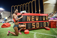 Genzebe Dbaba of Ethiopia competes in 1500m Women during the International Athletics Meeting Herculis, IAAF Diamond League, Monaco on July 17, 2015 at Louis II  stadium in Monaco, France - Photo Jean-Marie Hervio / KMSP / DPPI
