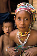 Karen tribal womanand young son in refugee camp on Burma-Thailand border, 1988