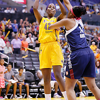 03 August 2014: Los Angeles Sparks center Jantel Lavender (42) takes a jump shot over Connecticut Sun forward/center Kelsey Bone (14) during the Los Angeles Sparks 70-69 victory over the Connecticut Sun, at the Staples Center, Los Angeles, California, USA.