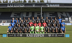 July 18, 2018 - Eupen, BELGIUM - (L-R, front) Kitman Vilvorde Cyril, Eupen's Silas Gnaka, Eupen's Carlos Martinez Castro, Eupen's Moussa Diallo, Eupen's Luis Garcia, Eupen's goalkeeper Babacar Niasse,  Eupen's goalkeeper Hendrik Van Crombrugge, Eupen's Goalkeeper Nurudeen Manaf, Eupen's player Milicevic Danijel, Eupen's Diawandou Diagne, Eupen's player Julian Schauerte, Eupen's player Cheick Keita, Eupen's Kine Francis Dewint,(L-R, middle row) Team Manager Michael Radermacher, Eupen's player Molina Xavi, Eupen's player David Pollet,  Eupen's Jordan Loties, Eupen's T4 Christoph Semmler, Eupen's head coach Claude Makelele, Eupen's T2 Manel Exposito, Eupen's T3 Raphael Fevre,  Eupen's Siebe Blondelle, Eupen's Remi Mulumba, Eupen's Nils Schouterden, Eupen's kitman Jens Leys, (L-R, upper row) Eupen's kitman Ghislain Brandt, Eupen's kine Xavier Santeugini, Eupen's Lucas Geurde, Eupen's Lazare Amani, Eupen's player Megan Laurent, Eupen's Yuta Toyokawa, Eupen's Alessio Castro Montes, Eupen's Florian Raspentino, Eupen's Yvan Yagan, Eupen's Eric Ocansey, Eupen's Ayoub Elmarrak, Eupen's kine Maxime Crosset pose for the 2018-2019 season photo shoot of Belgian first league soccer team KAS Eupen, Wednesday 18 July 2018 in Eupen. BELGA PHOTO KOEN BLANCKAERT (Credit Image: © Koen Blanckaert/Belga via ZUMA Press)