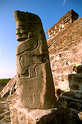 MEXICO, VERACRUZ CULTURES, VERACRUZ EL TAJIN, classic period, 300-900AD; Structure 5 with a statue of the Rain God or the God of Death