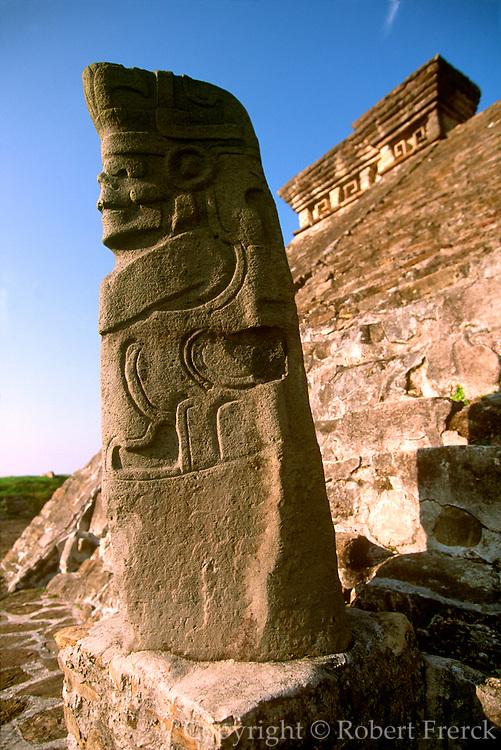 MEXICO, VERACRUZ CULTURES, VERACRUZ EL TAJIN, classic period, 300-900AD; Structure 5 with a statue of the Rain God or the God of Death