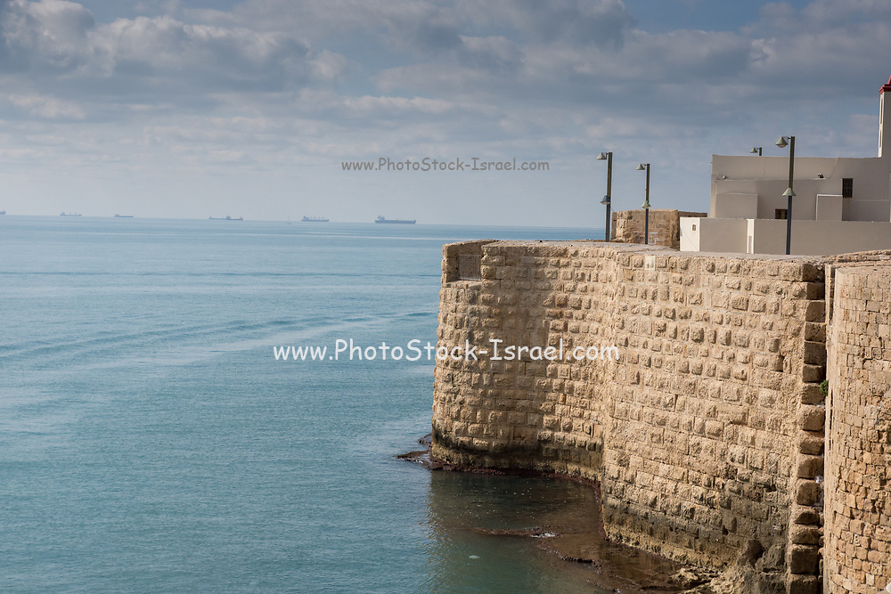 Israel, Acre, the walls of the old city in front of the Mediterranean sea