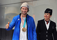 Team GB PyeongChang 2018 Winter Olympics Homecoming - Heathrow Airport, Terminal Five<br /> <br /> Billy Morgan of GB with his bronze medal  arrives home from the Games.<br /> <br /> COLORSPORT/ANDREW COWIE