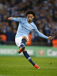 February 24, 2019 - London, England, United Kingdom - Manchester City's Leroy Sane takes his penalty.during during Carabao Cup Final between Chelsea and Manchester City at Wembley stadium , London, England on 24 Feb 2019. (Credit Image: © Action Foto Sport/NurPhoto via ZUMA Press)
