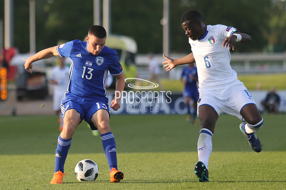 Osher Davida of Israel (13) takes on Paolo Gozzi Iweru of Italy (6) during the UEFA European Under 17 Championship 2018 match between Israel and Italy at St George's Park National Football Centre, Burton-Upon-Trent, United Kingdom on 10 May 2018. Picture by Mick Haynes.