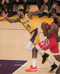 October 20, 2018 - Los Angeles, California, U.S - Brandon Ingram #14 of the Los Angeles Lakers is pushed by James Harden #13 of the Houston Rockets on Saturday October 20, 2018 at the Staples Center in Los Angeles, California. (Credit Image: © Prensa Internacional via ZUMA Wire)