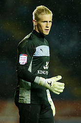 Leicester Goalkeeper Kasper Schmeichel (DEN) looks on during the second half of the match - Photo mandatory by-line: Rogan Thomson/JMP - Tel: Mobile: 07966 386802 18/01/2013 - SPORT - FOOTBALL - King Power Stadium - Leicester. Leicester City v Middlesbrough - npower Championship.