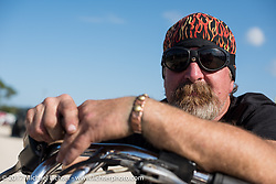 Marty Parker on his 1979 Harley-Davidson Low Rider at the AMCA Sunshine Chapter Swap Meet during Daytona Beach Bike Week. FL. USA. Saturday March 11, 2017. Photography ©2017 Michael Lichter.