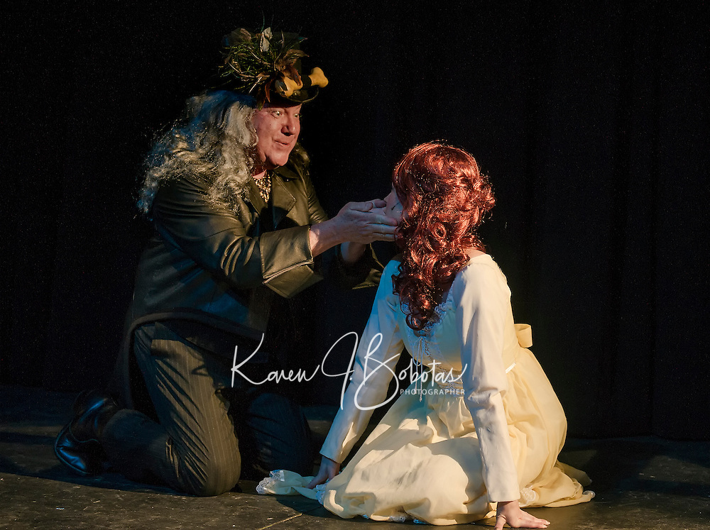 Ray Dudley as Fleshcreep and Monica Rodrigues as Jill Stoneyheart during dress rehearsal for Jack and the Beanstalk with Winnipesaukee Playhouse on Wednesday evening.  (Karen Bobotas/for the Laconia Daily Sun)