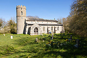 Round tower of All Saints Church, South Elmham, Suffolk, England, UK historic redundant church