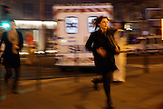 November 14, 2015 - Paris, France - <br /> Victims of the shooting at the Bataclan concert venue in central Paris run for safety. More than one hundred people were killed and many more wounded when gunmen opened fire inside the venue as the French capital has been the target of a series of deadly attacks. <br /> ©Exclusivepix Media