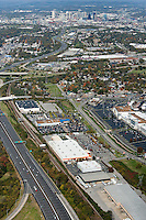 Aerial photo of the Nashville Skyline showing I-65, I-440, 100 Oaks Mall and Woodmont Boulevard in the foreground.