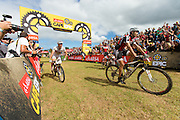 Gert Heyns (front) and Matthys Beukes of Scott Factory racing win the final stage (stage 7) of the 2014 Absa Cape Epic Mountain Bike stage race from Oak Valley Wine Estate in Elgin to Lourensford Wine Estate in Somerset West, South Africa on the 30 March 2014<br /> <br /> Photo by Greg Beadle/Cape Epic/SPORTZPICS