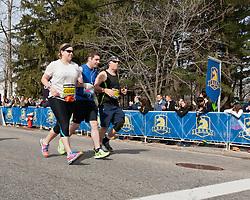 2013 Boston Marathon: visually impaired athlete with guides start