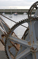 Winch for lifting boats at Dun Laoghaire Harbour in Dublin Ireland