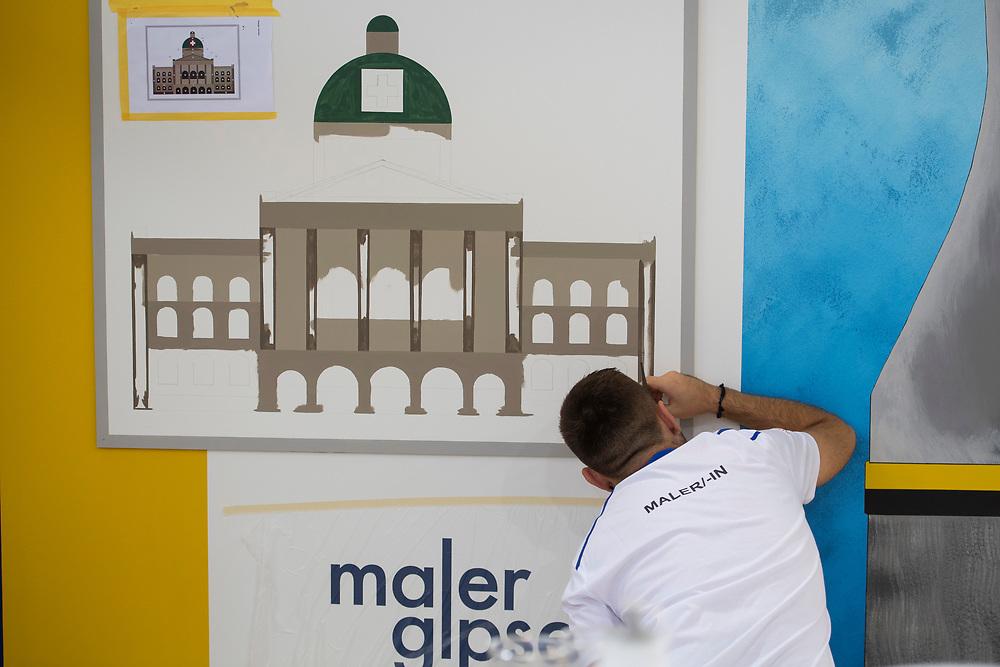 12. September 2018; Bern; SwissSkills 2018  - 4. Tag -  Maler/in EFZ / Peintre CFC / Pittore (AFC) / Pittrice (AFC) / SMGV - Schweizerischer Maler- und Gipserunternehmer-Verband / ASEPP - Association suisse des entrepreneurs pletriers-peintres / ASIPG - Associazione svizzera imprenditori pittori e gessatori(Michael Zanghellini)