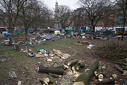 © Licensed to London News Pictures.01/02/2021, London,UK. Eco-activists are living in increasingly unstable tunnels beneath the Euston Square Gardens in central London.The eviction of HS2 Rebellion group the square began five days ago and continues today.  Photo credit: Marcin Nowak/LNP