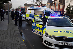 © Licensed to London News Pictures.02/02/2021, London,UK. Police officers are seen in north London after a man thrown a Molotov cocktail near the synagogue. Cops were called to a synagogue on Golders Green at 12:28pm. Photo credit: Marcin Nowak/LNP