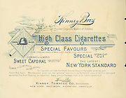 from the ' Album of celebrated American and English running horses ' by Kinney Bros Published in New Your in 1888 By Kinney Brothers to advance the sales of their cigarette brands. The Kinney Tobacco Company was an American cigarette manufacturing firm that created the Sweet Caporal cigarette brand and promoted it with collectible trading cards. Being a leading cigarette manufacturer of the 1870-1880s, it merged in 1890 into the American Tobacco Company.
