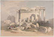 Ruins of the Eastern Portico of the Temple of Baalbec (Baalbek) Color lithograph by David Roberts (1796-1864). An engraving reprint by Louis Haghe was published in a the book 'The Holy Land, Syria, Idumea, Arabia, Egypt and Nubia. in 1855 by D. Appleton & Co., 346 & 348 Broadway in New York.