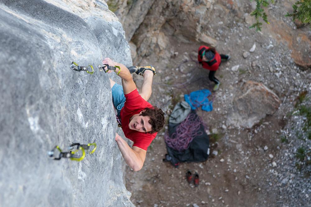 Adam Ondra climbing Fight Club, Canada's hardest climb, 5.15b at Raven's Crag in Banff, Alberta