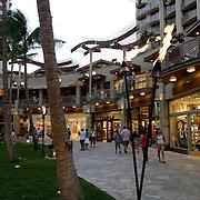 Honolulu, HI, July 18, 2007: A newer portion of Waikiki Beach in Honolulu boasts a shopping district with restaurants. (Photograph by Todd Bigelow/Aurora)