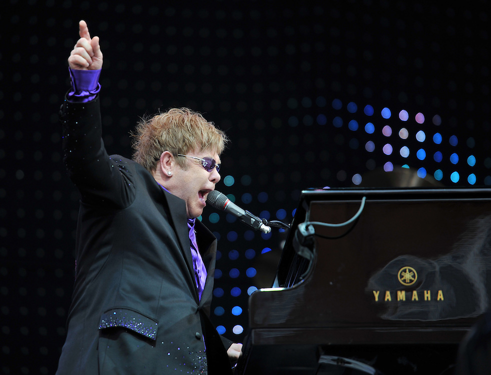 Sir Elton John  was the first star to play at a new outdoor concert venue opposite the Blackpool Tower.<br /> The evening performance at the Tower Festival Headland arena  attracted an audience of about 10,000 saw Elton perform on Saturday.16th June<br /> It is the first time Elton has played in the town for over 20 years.<br /> <br /> The Outdoor venue will also be used for other  events, including the visit of the Olympic torch to the area and the switch-on of the Blackpool Illuminations.<br /> Pix Dave Nelson