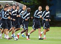 Fotball<br /> Real Madrid på treningsleir i Irland<br /> 16.07.2009<br /> Foto: Gepa/Digitalsport<br /> NORWAY ONLY<br /> <br /> Bild zeigt Spieler von Real Madrid mit Lassana Diarra (3. von rechts), Karim Benzema (2. von rechts) und Cristiano Ronaldo (Madrid / rechts)