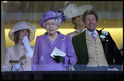HM The Queen with her racing manager John Warren in the Royal Box after winning the Gold Cup with her horse Estimate in the Royal Box at Royal Ascot 2013 Ascot, United Kingdom,<br /> Thursday, 20th June 2013<br /> Picture by Andrew Parsons / i-Images