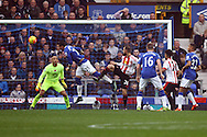 Steven Fletcher of Sunderland scores his teams 2nd goal. Barclays Premier League match, Everton v Sunderland at Goodison Park in Liverpool on Sunday 1st November 2015.<br /> pic by Chris Stading, Andrew Orchard sports photography.
