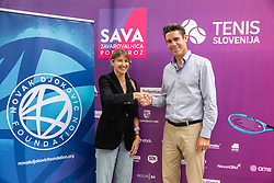 PORTOROZ, SLOVENIA - SEPTEMBER 19:  Ana Jovanovic of Novak Djokovic Foundation and Gregor Krusic during the WTA 250 Zavarovalnica Sava Portoroz at SRC Marina, on September 19, 2021 in Portoroz / Portorose, Slovenia. Photo by Vid Ponikvar / Sportida