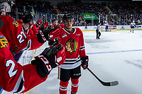 KELOWNA, BC - FEBRUARY 8: Seth Jarvis #24 of the Portland Winterhawks fist bumps the bench for the second time in second period after scoring against the Kelowna Rockets at Prospera Place on February 8, 2020 in Kelowna, Canada. (Photo by Marissa Baecker/Shoot the Breeze)