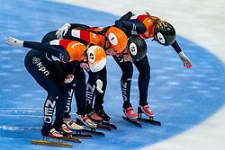 Rianne de Vries, Suzanne Schulting, Yara van Kerkhof, Lara van Ruijven in action on the 3000 meter relay during ISU World Cup Finals Shorttrack 2020 on February 15, 2020 in Optisport Sportboulevard Dordrecht.