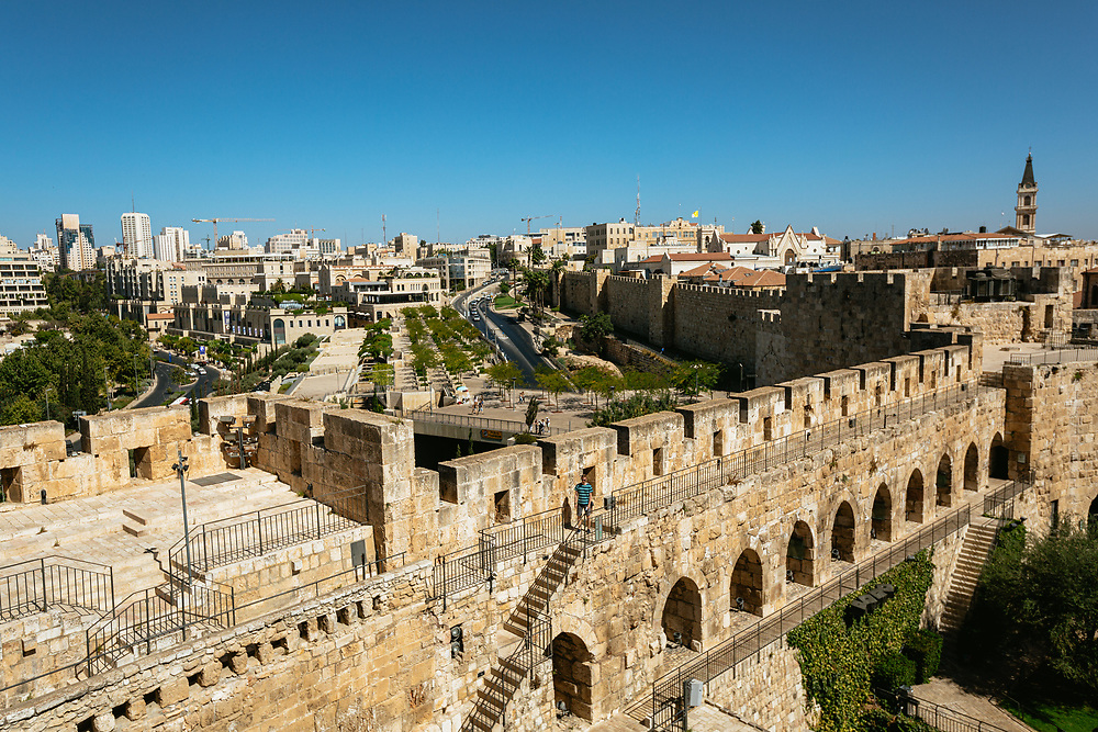 People visit the The Tower of David Museum, an ancient citadel in the Old City of Jerusalem