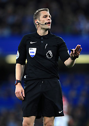 """Referee Craig Pawson during the Premier League match at Stamford Bridge, London. PRESS ASSOCIATION Photo. Picture date: Monday May 8, 2017. See PA story SOCCER Chelsea. Photo credit should read: Mike Egerton/PA Wire. RESTRICTIONS: EDITORIAL USE ONLY No use with unauthorised audio, video, data, fixture lists, club/league logos or """"live"""" services. Online in-match use limited to 75 images, no video emulation. No use in betting, games or single club/league/player publications."""