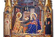 Gothic painted Panel Altarpiece of the Annunciation  by the Circle of Ferrer and Arnau Bassa. Tempera and gold leaf on wood. Circa 1347-1360. 282.9 x 151 x 11 cm. The origin of this panel has traditionally been associated with the collegiate church of Sant Vicenç de Cardona (Bages). National Museum of Catalan Art, Barcelona, Spain, inv no: 015855-000 .<br /> <br /> If you prefer you can also buy from our ALAMY PHOTO LIBRARY  Collection visit : https://www.alamy.com/portfolio/paul-williams-funkystock/romanesque-art-antiquities.html<br /> Type -     MNAC     - into the LOWER SEARCH WITHIN GALLERY box. Refine search by adding background colour, place, subject etc<br /> <br /> Visit our ROMANESQUE ART PHOTO COLLECTION for more   photos  to download or buy as prints https://funkystock.photoshelter.com/gallery-collection/Medieval-Romanesque-Art-Antiquities-Historic-Sites-Pictures-Images-of/C0000uYGQT94tY_Y
