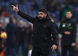 February 3, 2019 - Rome, Italy - AS Roma v AC Milan - Serie A.Gennaro Gattuso manager of Milan at Olimpico Stadium in Rome, Italy on February 3, 2018. (Credit Image: © Matteo Ciambelli/NurPhoto via ZUMA Press)