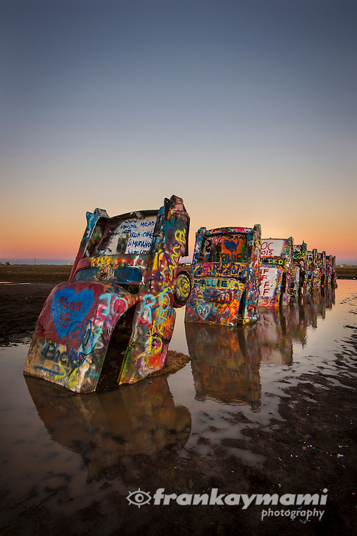 Color images of Cadillac Ranch along Route 66 in Amarillo, TX