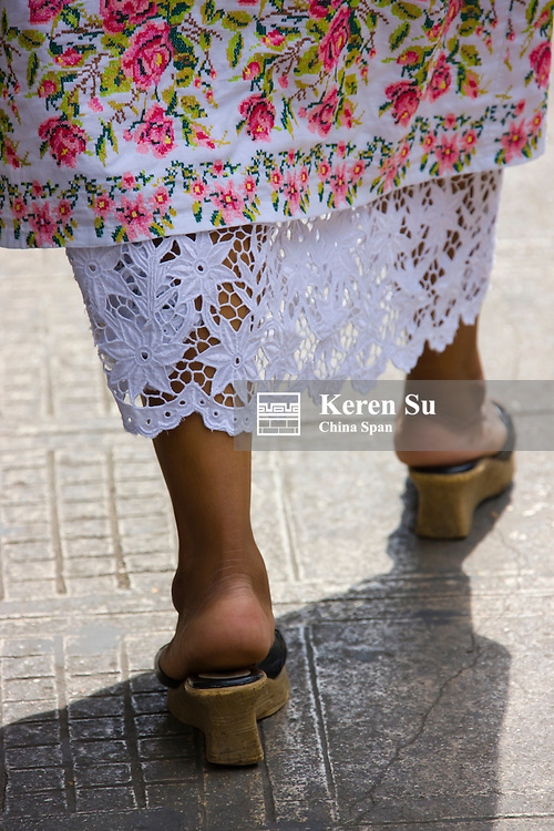 Mexico woman in traditional embroidered dress, Merida, Yucatan State, Mexico