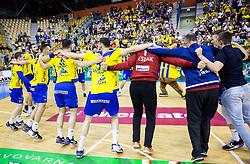 Players of Celje celebrate as National Champions 2017 during trophy ceremony after handball match between RK Celje Pivovarna Lasko and RK Gorenje Velenje in Last Round of 1. Liga NLB 2016/17, on June 2, 2017 in Arena Zlatorog, Celje, Slovenia. Photo by Vid Ponikvar / Sportida