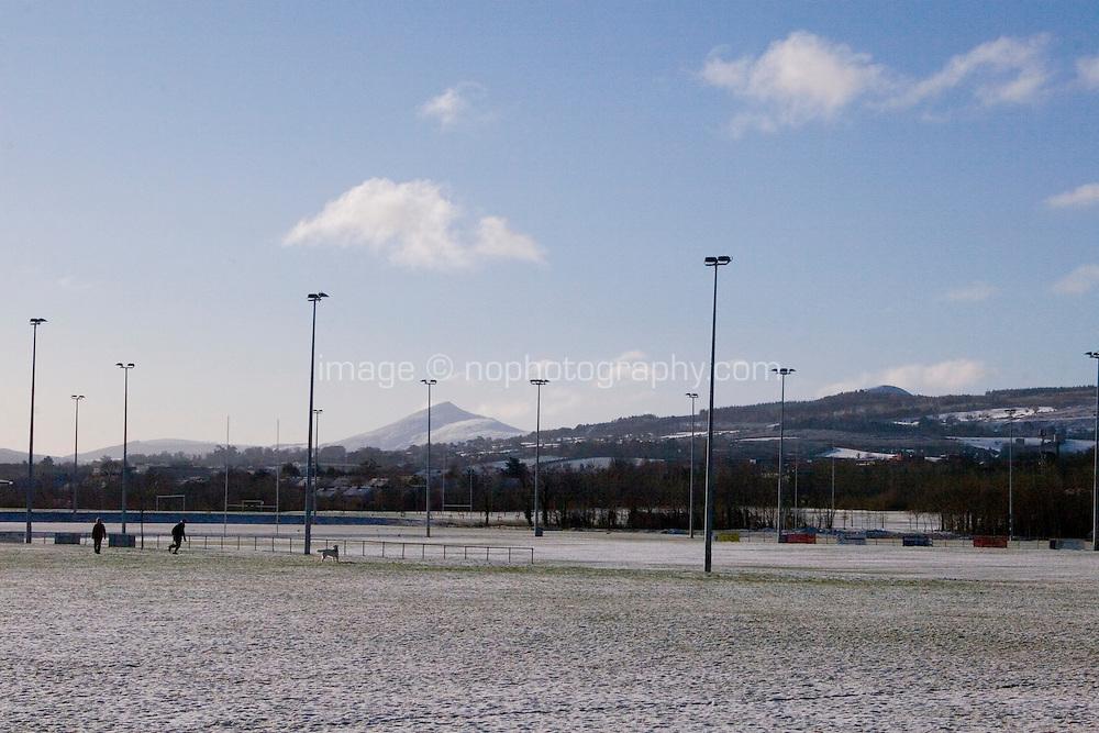 Snow football field playground in suburban in Dublin Ireland