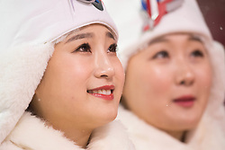 February 11, 2018 - Pyeongchang, South Korea - Awards ceremony participants wait for the venue ceremony at the Womens Moguls finals Sunday at Phoenix Snow Park at the Pyeongchang Winter Olympic Games. (Credit Image: © Mark Reis via ZUMA Wire)