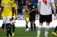 Brentfords' Alex Pritchard gets ready to take a free kick. Skybet football league championship match, Bolton Wanderers v Brentford at the Macron stadium in Bolton, Lancs on Saturday 25th October 2014.<br /> pic by Chris Stading, Andrew Orchard sports photography.