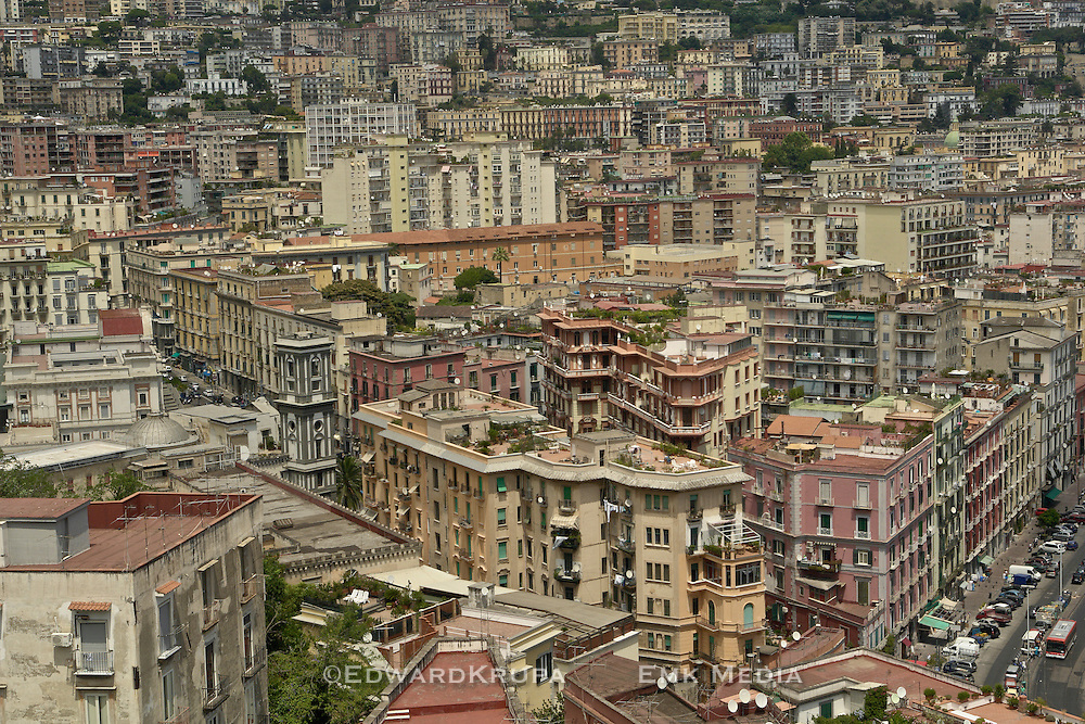 High view of a dense residential area of Naples.