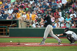"1 June 2010: Tim Alberts gets some wood on the ball. The Windy City Thunderbolts are the opponents for the first home game in the history of the Normal Cornbelters in the new stadium coined the ""Corn Crib"" built on the campus of Heartland Community College in Normal Illinois."