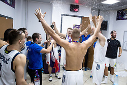 Luka Doncic of Slovenia, Edo Muric of Slovenia celebrating in a locker room after winning during the Final basketball match between National Teams  Slovenia and Serbia at Day 18 of the FIBA EuroBasket 2017 when Slovenia became European Champions 2017, at Sinan Erdem Dome in Istanbul, Turkey on September 17, 2017. Photo by Sportida
