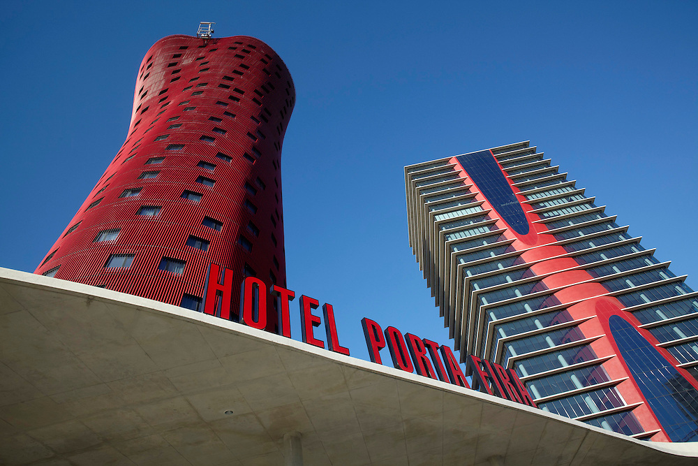 """Feb, 03. 2010. City of Barcelona. New hotel """"Porta Fira"""" made by the japanesse architect Toyo Ito. The hotel recently opened is next to la fira de Barcelona convenions center."""