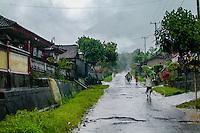 Bali, Tabanan, Jatiluwih. Heavy rain on the road to Jatiluwih.